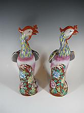 Antique Chinese pair of porcelain birds