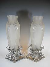 Antique German WMF pair of glass & metal vases