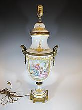 Old Sevres style porcelain & bronze lamp