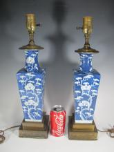 Antique Chinese pair of porcelain lamps