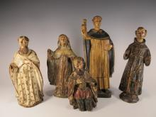 18th C set of 5 Religious carved wood statues