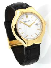 Elegant 18k gold & leather Tiffany & Co
