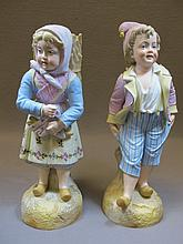 Old pair of European bisque statues