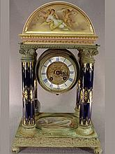 Antique European bronze & porcelain clock