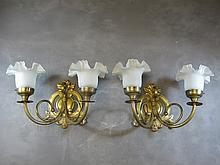 Old French pair of bronze & glass sconces