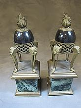 Antique pair of bronze & marble urns