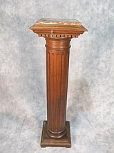 Antique wood & marble pedestal