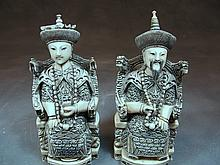 Pair of old Chinese ivory emperors