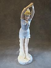 Antique German bisque swimmer statue