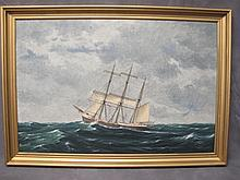 Old ship painting, A. H. Nordberg