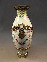 German Royal Bonn porcelain & bronze vase