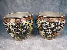 Large pair of Chinese porcelain planters