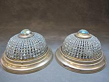 Old pair of bronze & glass ceiling lights