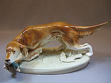 Royal Dux dog porcelain statue