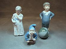 Antique Royal Copenhagen set of 3 porcelain figures