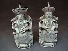 Antique pair of Chinese ivory emperors