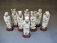 Antique Chinese ivory 8 gods statues