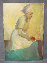 Old oil on canvas woman painting