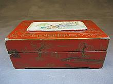 Antique Chinese wood & porcelain box