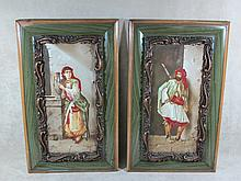 Antique European pair of porcelain plaques