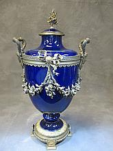 Antique French Severs style porcelain & bronze urn