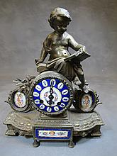 Antique French Japy Freres spelter 7 enamel clock