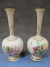 Antique Royal Worcester pair of porcelain vases