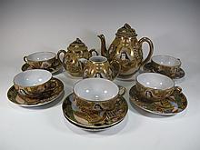 Japanese Satsuma porcelain teapot set