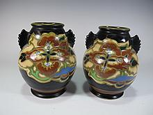 Japanese pair of pottery vases