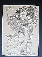 Signed Picasso pencil drawing, dated 1968