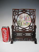 Antique Chinese enamel table top screen