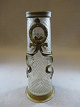 Antique French bronze & glass vase