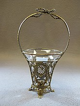 Antique French bronze & glass basket