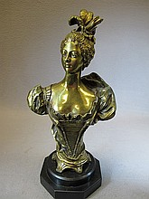 Antique French bronze bust, signed LEVY