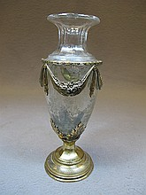 Antique French bronze & crystal vase