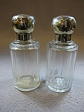 Antique German pair of silverplate & glass perfurm bottles