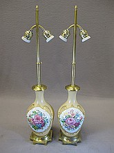 Old pair of French porcelain lamps