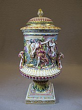 Antique Capodimonti porcelain lided urn