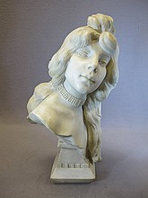 Antique Italian alabaster bust, signed