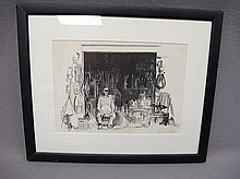 Old framed engraving signed Shelly