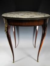 Antique French Louis XV style marble top oval table