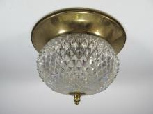 Antique French brass & glass ceiling light