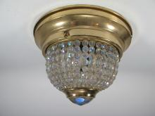 Antique French brass & iridescent glass ceiling light
