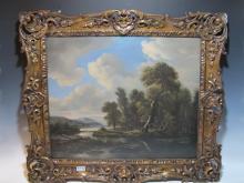 19th C European oil on canvas landscape painting