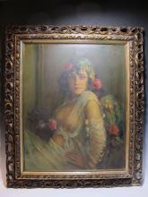 Early 20th C Italian Gipsy oil on canvas painting