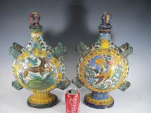 Zulimo ARETINI Italian pair of ceramic flasks