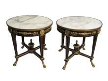 20th C pair of French Empire style bronze mounted tables