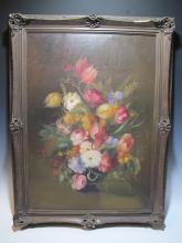 Signed Carl TUCZEK oil on canvas flowers painting