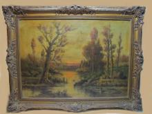 Early 20th C oil on canvas landscape painting, signed