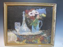 Antique oil on canvas flowers painting, unsigned